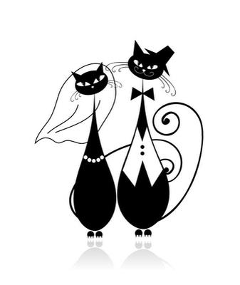 Sticker mural Marié et la mariée, chat de mariage pour la conception de votre