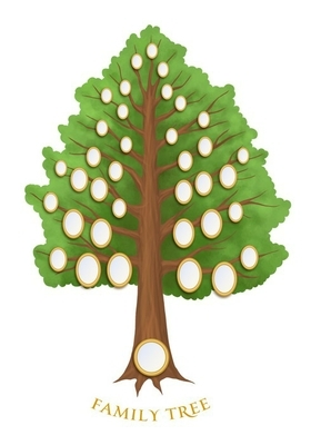family tree with empty oval frames Wall Decal