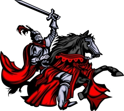 Knight Mascot on Horse Wall Decal