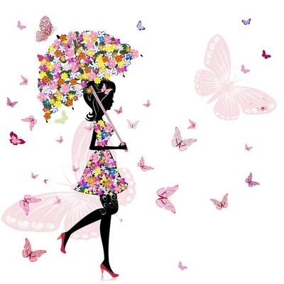 flower girl with umbrella Wall Decal