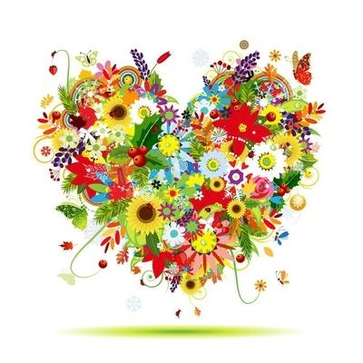 Naklejka na ścianę Cztery pory roku. sztuki kształt serca dla swojego projektu