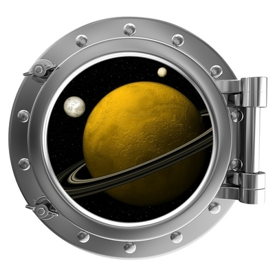 Illustration of a ship porthole with a view to space Wall Decal