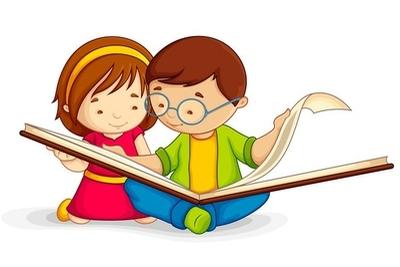 Sticker mural Illustration de vecteur de livre de lecture ouvert gamin assis sur le plancher