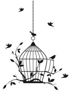 Muursticker Vrije vogels met open vogelkooi, vector