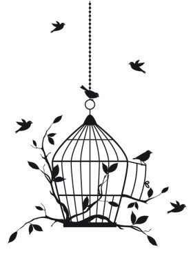 Naklejka na ścianę Wolne ptaki z otwartej klatce dla ptaków, wektor