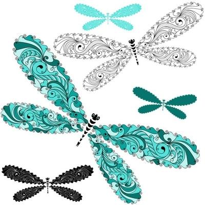 Wandtattoo Set Spitze Vintage Libellen