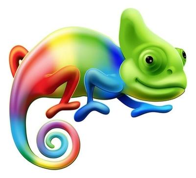 Muursticker Regenboog kameleon