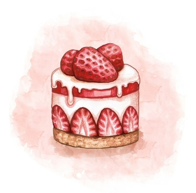 Illustration of a strawberry cream cake Wall Decal