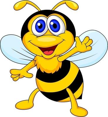 Sticker mural Mignon bande dessinée d'abeille agitant