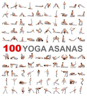 Muursticker 100 yoga houdingen op een witte achtergrond