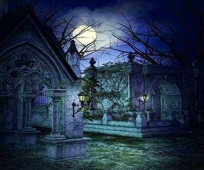 Scary Graveyard Backdrop Framed Poster