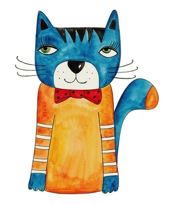 Cat. Artwork, ink and watercolors on paper Wall Decal