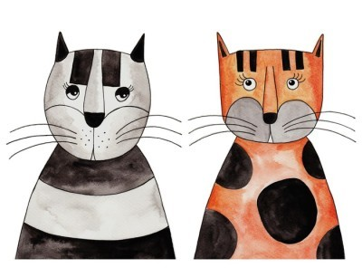 Sticker mural Cats. Illustration, encre et aquarelle sur papier