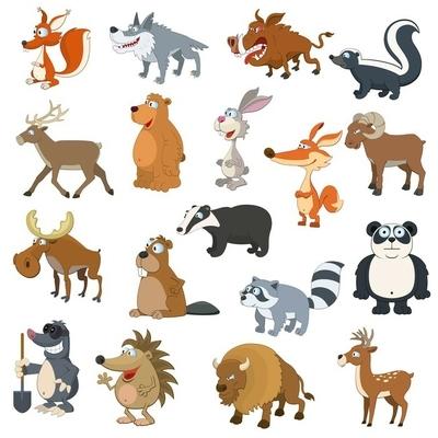 Naklejka na ścianę Zwierzęta leśne ustawić