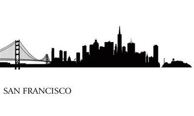San Francisco city skyline silhouette background Wall Decal