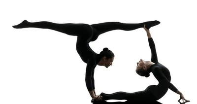 two women contortionist exercising gymnastic yoga silhouette Wall Decal
