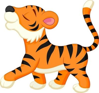 Veggklistremerke Søt tiger tegneserie