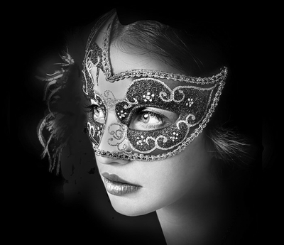 Close up portrait of woman in mysterious venetian mask Framed Poster