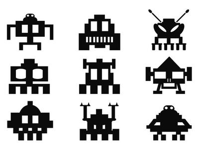 Veggklistremerke Space Invaders ikoner sett - pixel monstre