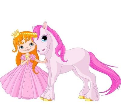 Adesivo da Parete Carino Principessa e Unicorn