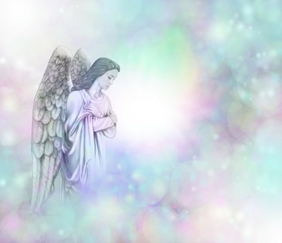 Angel on soft misty bokeh frame background Framed Poster