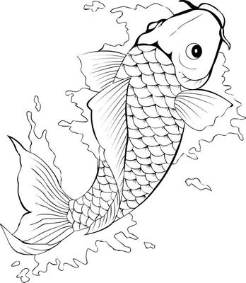 Veggklistremerke Svart og hvit koi fisk tatovering