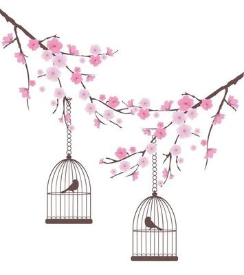 Adesivo da Parete Vettore ciliegio in fiore con uccelli in gabbia