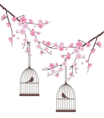 vector cherry blossom with birds in cages Wall Decal
