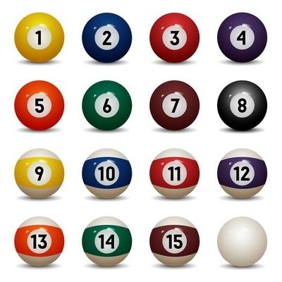 Veggklistremerke Isolerte fargede bassengballer. Tall 1 til 15 og null ball