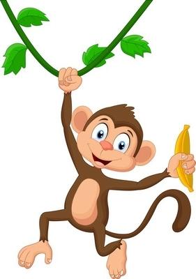 Naklejka na ścianę Cartoon monkey wiszące