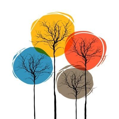 Muursticker Abstract Bomen Op Wit. Seizoenen Concept