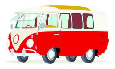 Naklejka na ścianę Caricatura furgoneta Volkswagen T1 microbus roja y Blanca vista frontal y boczne