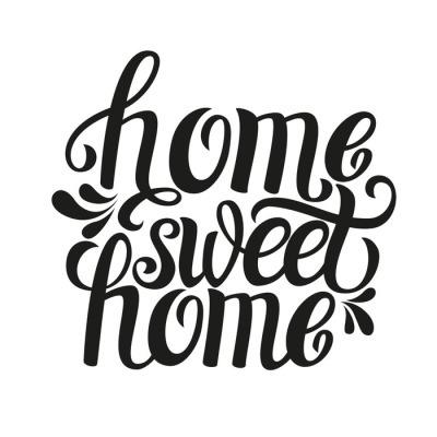 Sticker mural Main affiche lettrage typographie 'Accueil de sweet home'