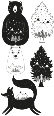 In the forest Sticker set