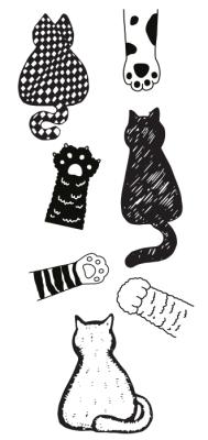 Les chats noirs-blancs Paquet de stickers