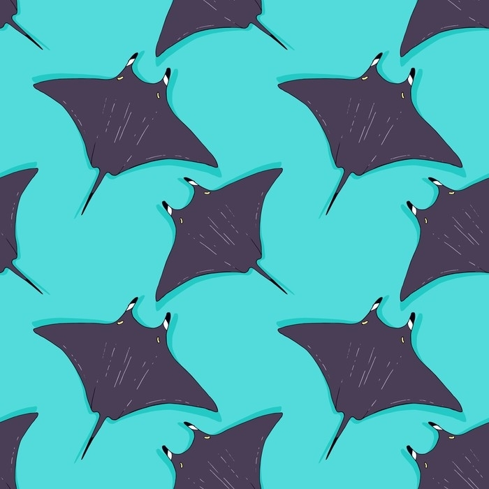 Vector seamless pattern with stingray, ray fish illustration. Animal in the wild - hand drawn sketch, marine life swimming animal wallpaper Deck chair - Animals