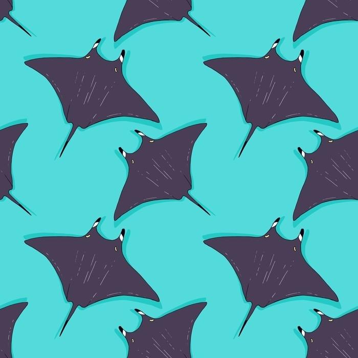 Sedia a sdraio Vector seamless con stingray, illustrazione di pesce raggio. animale nel selvaggio - schizzo disegnato a mano, carta da parati animale di nuoto di vita marina - Animali