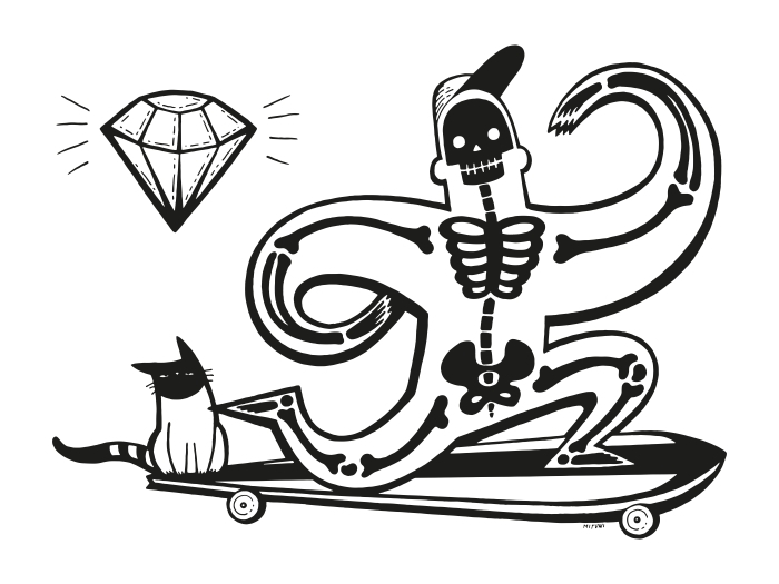 Vinyl Fotobehang Szkieletor na longboardzie -