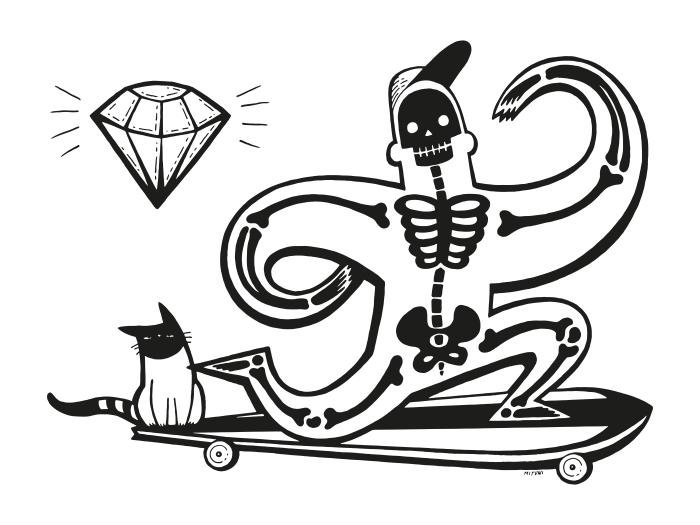 Fototapeta winylowa Szkieletor na longboardzie -
