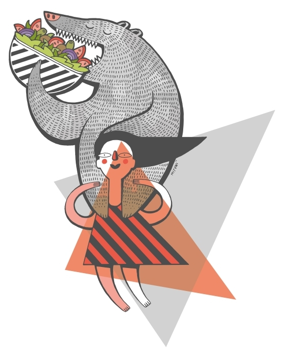 Nálepka na ledničku Colorfull dívka drží medvěda -