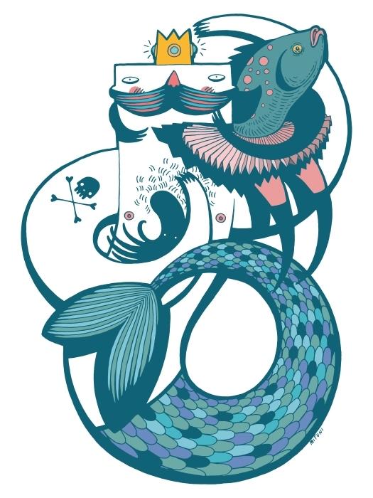 Mr mermaid in blue Pixerstick Sticker -