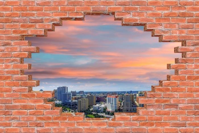 Fototapeta winylowa Dziura w murze - Widok z lotu ptaka - Dziury w ścianie