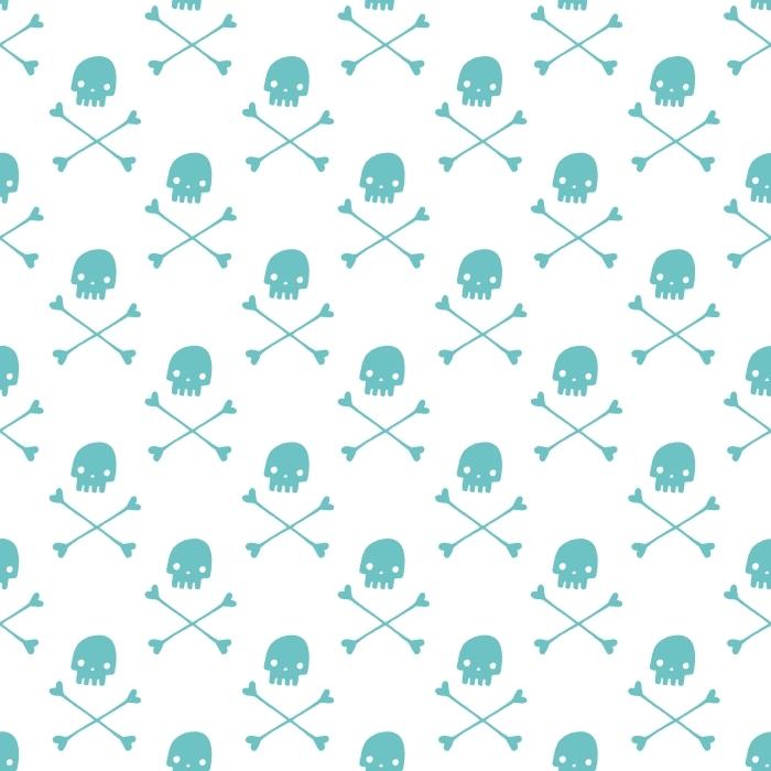Mint skulls Self-Adhesive Wall Mural -