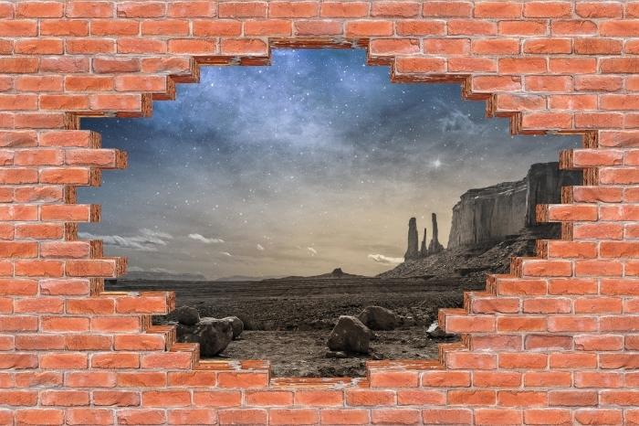 Fototapeta winylowa Dziura w murze - Skalista pustynia - Dziury w ścianie