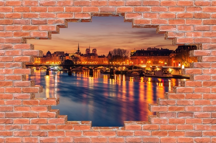 Fototapeta winylowa Dziura w murze - Paryż - Dziury w ścianie