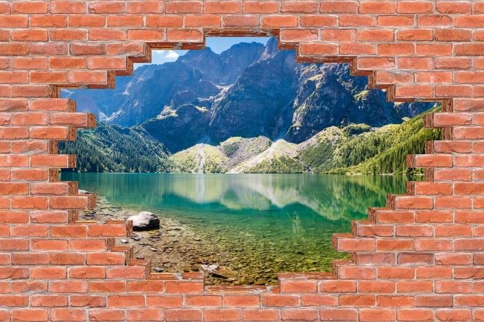 Fototapeta winylowa Dziura w murze - Panorama Morskiego Oka - Dziury w ścianie