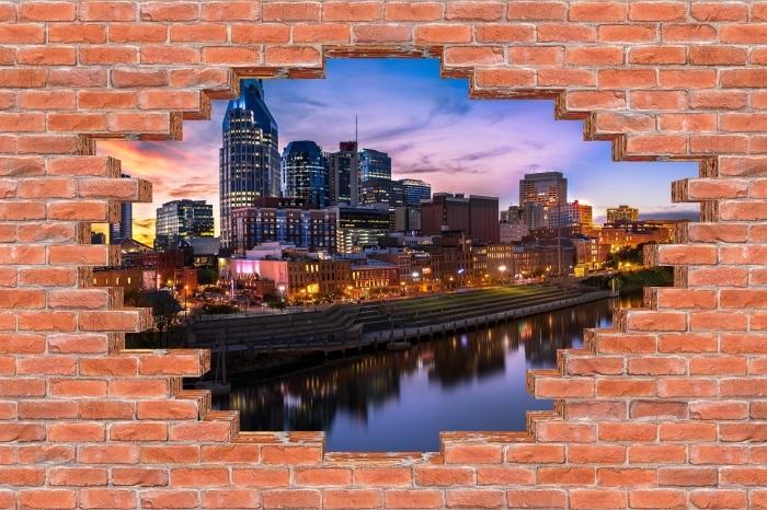 Fototapeta winylowa Dziura w murze - Nashville Skyline - Dziury w ścianie