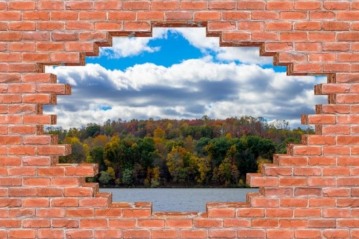 Fototapeta winylowa Dziura w murze - Jesień - Dziury w ścianie