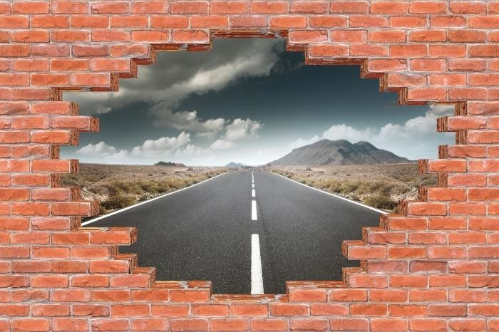 Papier peint vinyle Trou dans le mur - Route à travers le désert. - Les trous dans le mur