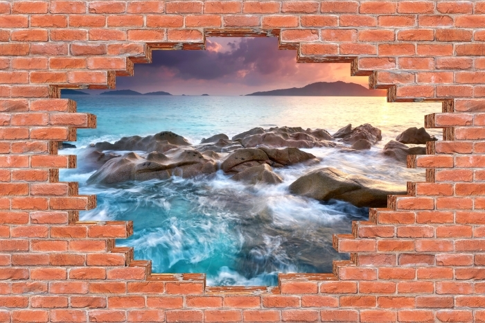 Vinyl Fotobehang Gat in de muur - Sunset - Gaten in de muur